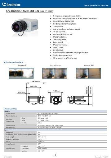 GV-BX520D Specifications - CCTV Cameras