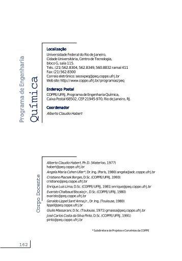 Catálogo do PEQ - Programa de Engenharia Química - COPPE / UFRJ