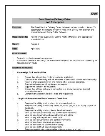 Job Description Of A Delivery Driver  Resume Cv Cover Letter