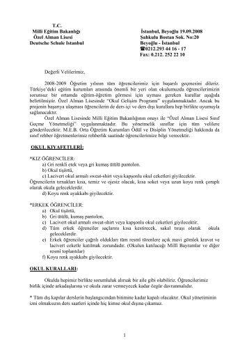 1 TC Milli Eğitim Bakanlığı İstanbul, Beyoğlu 19.09.2008 Özel Alman ...