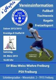 30.3.2013 SV Blau-Weiss Wiehre gegen PSV Freiburg