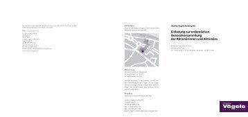 Einladung zur ordentlichen Generalversammlung der Aktionärinnen ...