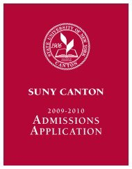 ADMISSIONS APPLICATION - SUNY Canton