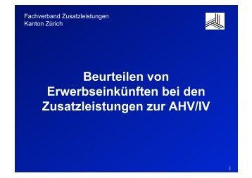 Beurteilen von Erwerbseinkünften bei den Zusatzleistungen zur AHV