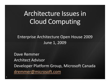 Architecture Issues in Cloud Computing - Verney Conference ...
