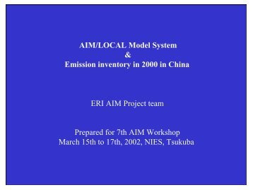 Emission Inventory and Modelling in China