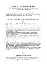 Pravidlá pre štátne skúšky na EBF UK - Univerzita Komenského