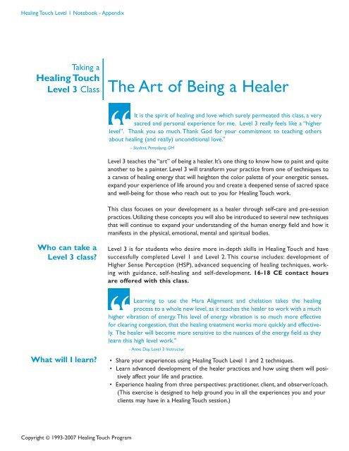 Level 3 Class The Art of Being a Healer - Healing Touch Program