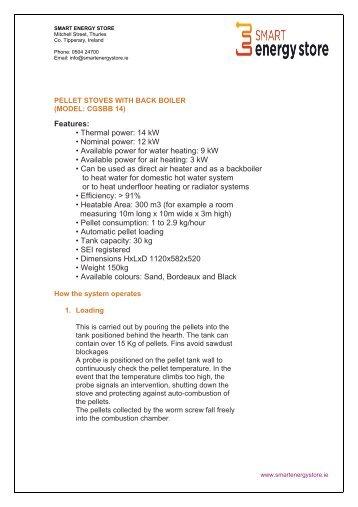 14KW Pellet Stove With Back Boiler Info - Smart Energy Store