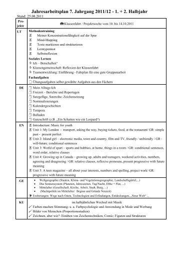 Jahresarbeitsplan 7. Jahrgang 2011/12 - 1. + 2. Halbjahr