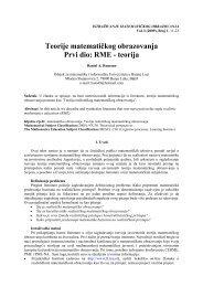 Teorije matematičkog obrazovanja Prvi dio: RME - teorija
