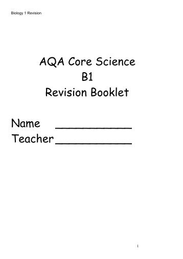 Revision Booklet - Millthorpe School York