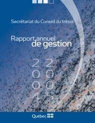 Rapport annuel de gestion 2004-2005 du Secrétariat du Conseil du ...