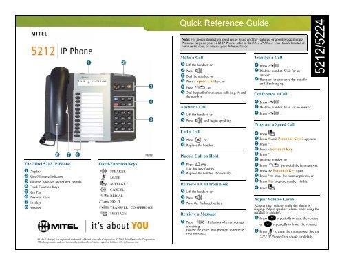 Mitel user guides