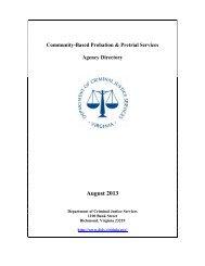CCCA & PSA Directory - Virginia Department of Criminal Justice ...