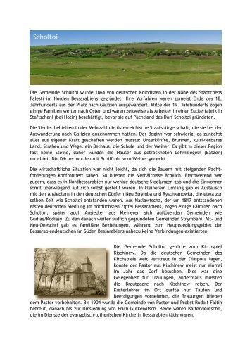 Die Gemeinde Scholtoi wurde 1864 von deutschen Kolonisten in ...