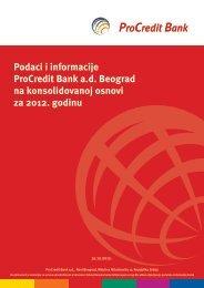 Podaci i informacije ProCredit Bank a.d. Beograd na konsolidovanoj ...