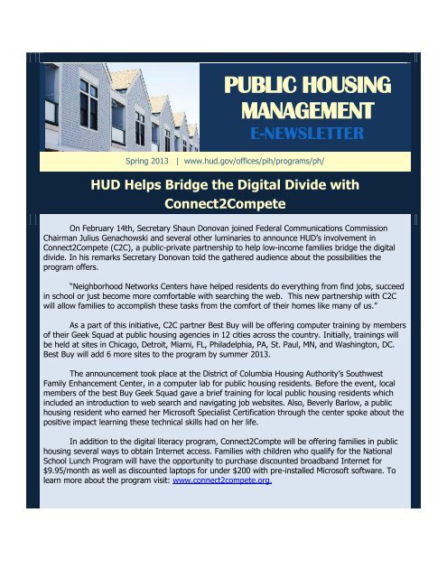 public housing management e-newsletter - HUD