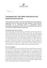 Pressemitteilung Heinz Weiler - Swarovski Kristallwelten