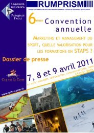 UnivCorse dossier Presse convention management sport avril 2011