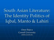 The Identity Politics of Iqbal, Manto & Lahiri - South Asia Program ...
