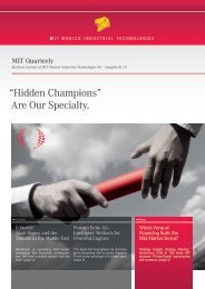 Are Our Specialty. - MIT Munich Industrial Technologies AG