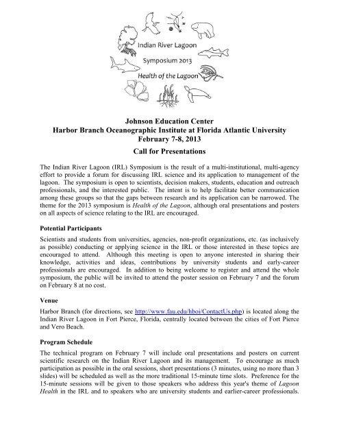 IRL Symposium Flyer - Florida Marine Science Educators