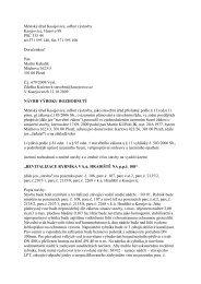 Návrh výroku rozhodnutí od MěÚ Kasejovice