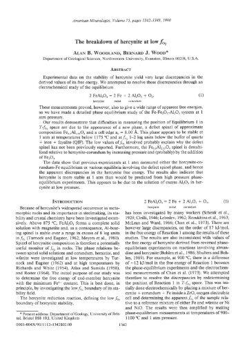 The Breakdown Of Hercynite A