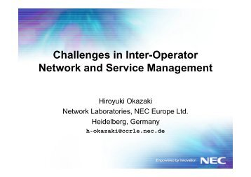 Challenges in Inter-Operator Network and Service ... - APNOMS