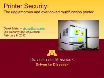 Printer Security: - OIT