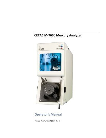 CETAC M-7600 Mercury Analyzer Operator's Manual