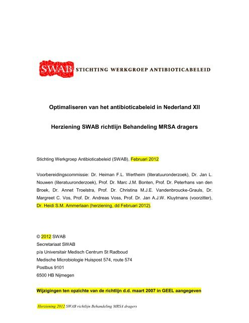 Behandeling MRSA dragers - SWAB