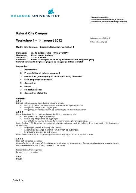 Referat City Campus Workshop 1 – 14. august 2012