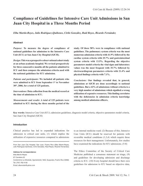 Compliance of Guidelines for Intensive Care Unit Admissions