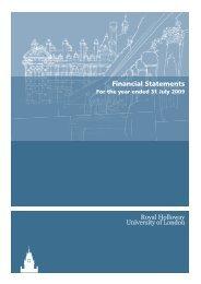 Financial Statements 2009 - Royal Holloway, University of London