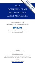 THE CONFERENCE OF INDEPENDENT ASSET MANAGERS