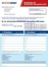 Anmeldung zum INTERSPORT Alpenglühen 2012 Ja, ich bin beim ...