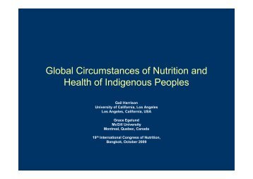 Global Circumstances of Nutrition and Health of Indigenous Peoples