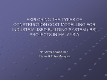 exploring the types of construction cost modelling for - i3Con
