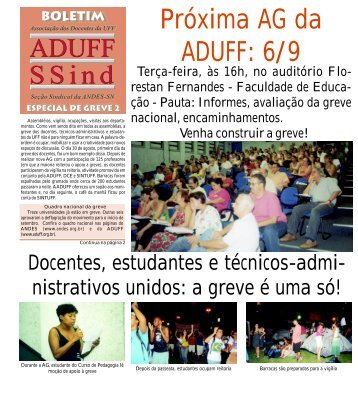 Próxima AG da ADUFF: 6/9