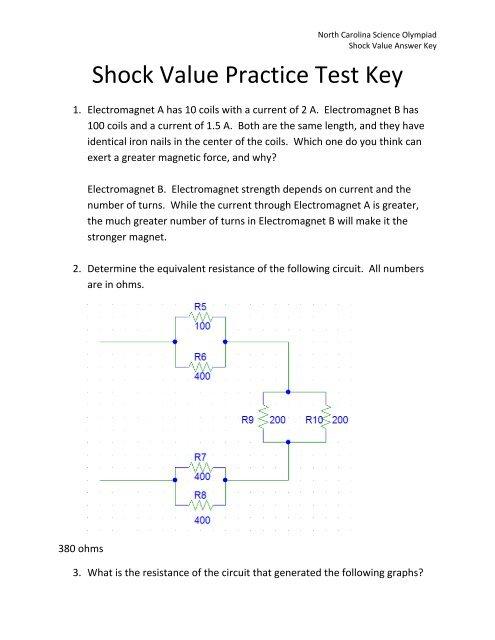 Shock Value Practice Test Key - North Carolina Science Olympiad