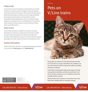 Pets on V/Line trains