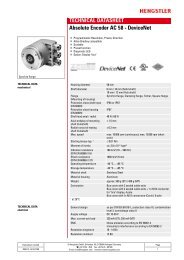 Hengstler AC58 DeviceNet Absolute Encoder Data Sheet
