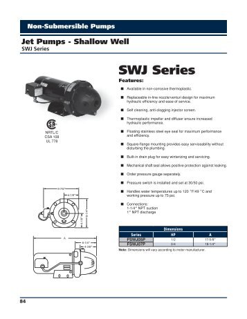 SWJ Series Catalog Pages - Franklin Electric