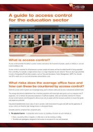 Access Control for the Education Sector - British Security Industry ...
