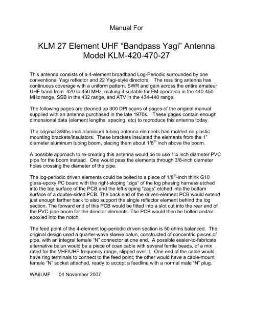 "Bandpass Yagi"" Antenna Model KLM-420-470-27 - WA8LMF"