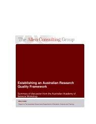 Establishing an Australian Research Quality Framework