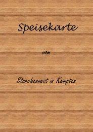 Speisekarte vom Storchennest in Kempten - Mir Allgaier – Mir Allgäuer