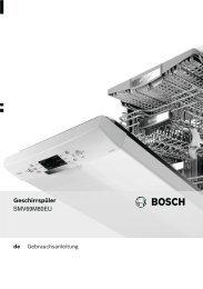 Bedienungsanleitung zu BOSCH SMV 69 M 80 EU ... - Innova